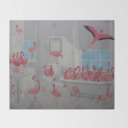 Flamingos In the Bathroom Throw Blanket