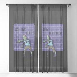 Zombie pixel Sheer Curtain