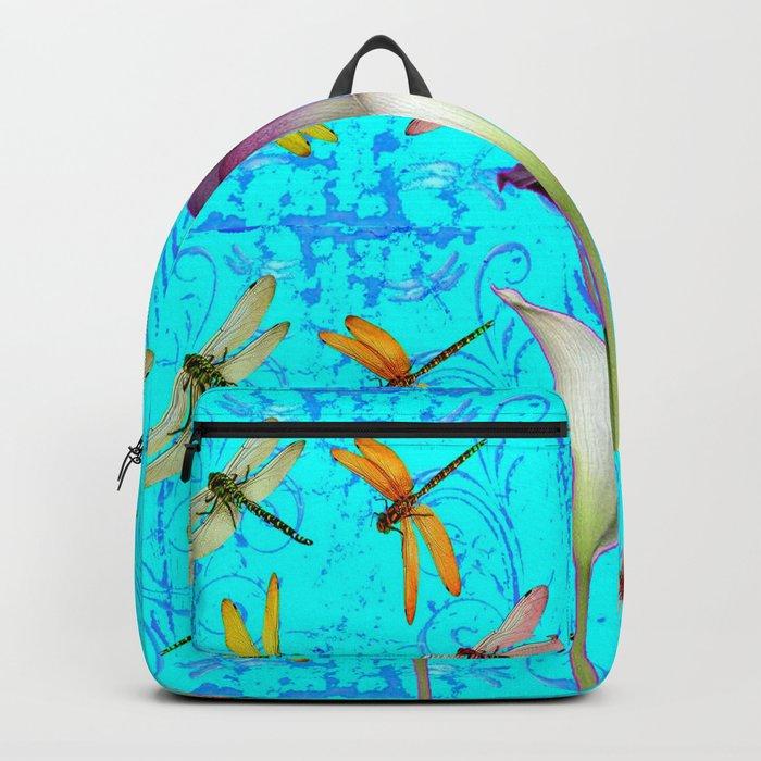 BLUE ART GOLDEN DRAGONFLIES CALLA LILIES Backpack