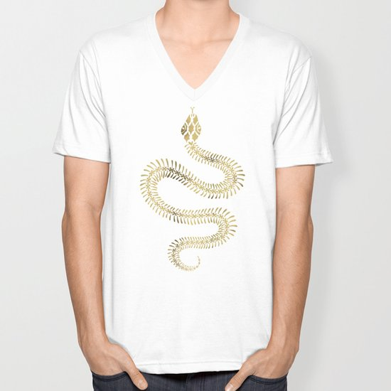 e31be13ad2b Snake Skeleton – Gold Unisex V-Neck by catcoq