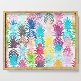 Hawaiian Pineapple Pattern Tropical Watercolor Serving Tray