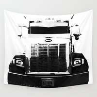 truck Wall Tapestries featuring Peterbilt Truck by MJMarshall Design