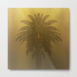 Golden Palm Tree Metal Print