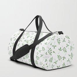 Green Leaves Design on White Duffle Bag