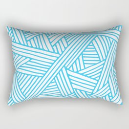 Abstract Teal & white Lines and Triangles Pattern - Mix and Match with Simplicity of Life Rectangular Pillow