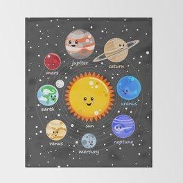Solar system Kawaii style Throw Blanket