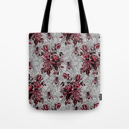 Vintage Roses and Spiders on Lace Halloweeen Watercolor Tote Bag
