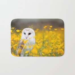 Little Owlet in Flowers (Color) Bath Mat