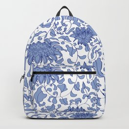 Chinoiserie Vines in Delft Blue + White Backpack