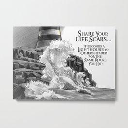 Lighthouse. Rock Scars Metal Print