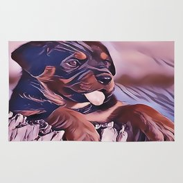 Rottweiler Puppy at the Beach Rug