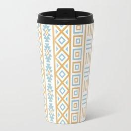 Aztec Influence Pattern Blue White Gold Travel Mug