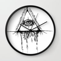 all seeing eye Wall Clocks featuring All Seeing Eye  by Emalee Røse