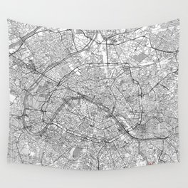 Paris Map Line Wall Tapestry