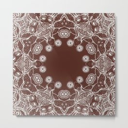 brown Mandala Metal Print