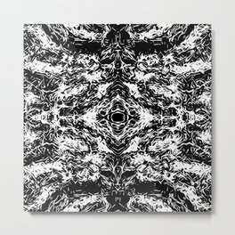 vintage psychedelic graffiti symmetry art abstract in black and white Metal Print