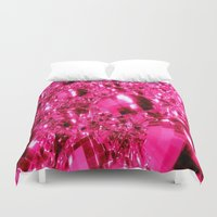 hot pink Duvet Covers featuring Hot Pink Ornaments by 2sweet4words Designs
