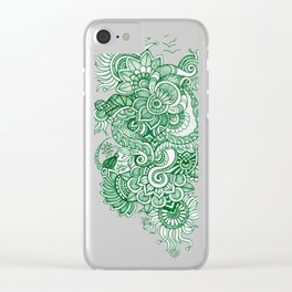 Green Doodle Clear iPhone Case