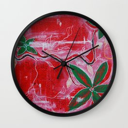 Red and green foliage fine art painting 2 of 3 Wall Clock