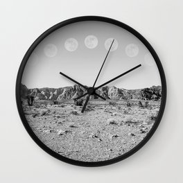 Desert Moon Ridge B&W // Summer Lunar Landscape Teal Sky Red Rock Canyon Rock Climbing Photography Wall Clock