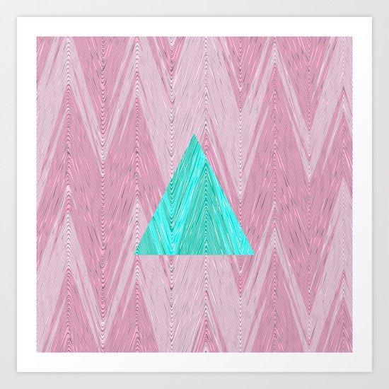 Modern Teal Zigzag Triangle Girly Pink Chevron Art Print