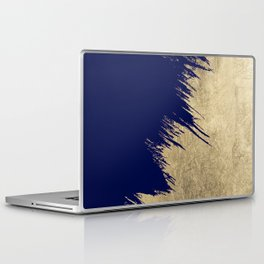 Navy blue abstract faux gold brushstrokes Laptop & iPad Skin