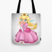 princess peach Tote Bags featuring Princess Peach by Chimi-uzz
