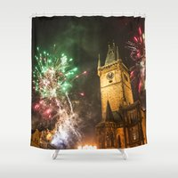 fireworks Shower Curtains featuring Fireworks 1 by Veronika