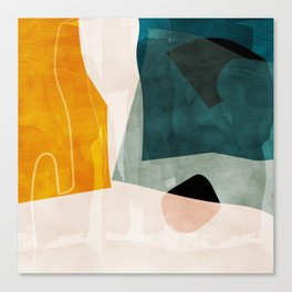mid century shapes abstract painting 3 Canvas Print