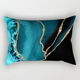 Teal Blue And Gold Glitter Sparkle Veins Agate Rectangular Pillow