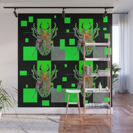 GREEN & BLACK CUBIC MODERN ART WITH REDDISH BEETLES Wall Mural