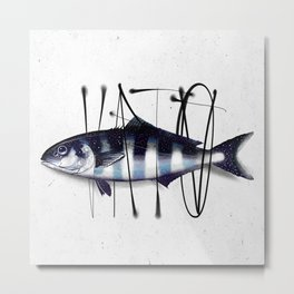 Tag on Fish V Metal Print