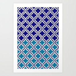 Moroccan Blue tile pattern1 Art Print
