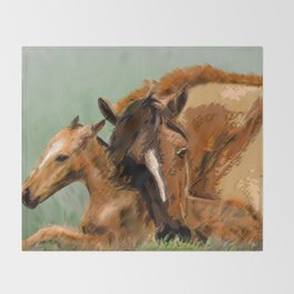 Horses - Mare and Foal Throw Blanket