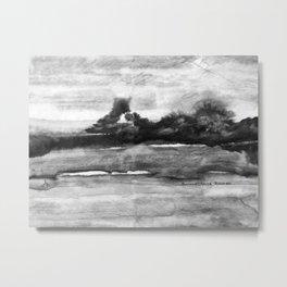 Distant Smoke Black and White Metal Print