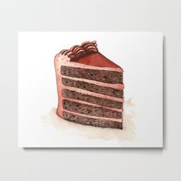 Chocolate Layer Cake Slice Metal Print