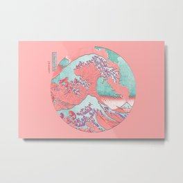 Great Wave Off Kanagawa Mount Fuji Eruption Pink and Teal Metal Print