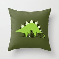 oil Throw Pillows featuring Crude oil comes from dinosaurs by AGRIMONY // Aaron Thong