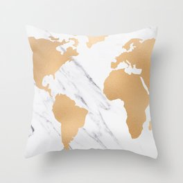 Marble World Map Copper Bronze Throw Pillow