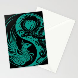 Teal Blue and Black Dragon Phoenix Yin Yang Stationery Cards