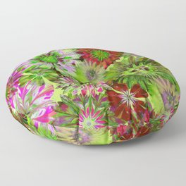 Rivalry of Flowers - green & red Floor Pillow