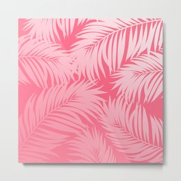 Palm Tree Fronds c'est parfait on pink Hawaii Tropical Décor Metal Print