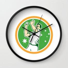 Cricket Fast Bowler Bowling Ball Circle Cartoon Wall Clock