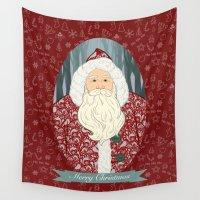 santa Wall Tapestries featuring Santa by Beesants
