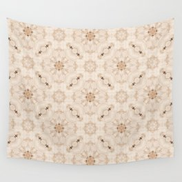 Off White Vintage Flower Pattern Wall Tapestry