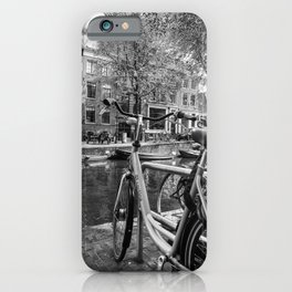 Bicycles and boats along Amsterdam canal iPhone Case