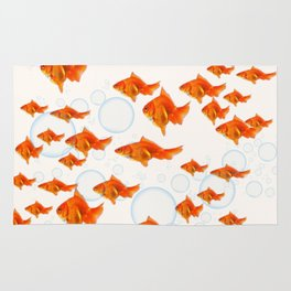 ABSTRACT GOLD FISH SWIMMING ART  DESIGN Rug