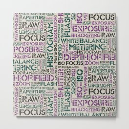 Photography Terms Word Pattern Metal Print