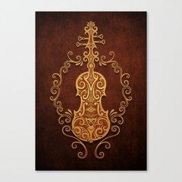 Aged Vintage Brown Tribal Violin Design Canvas Print