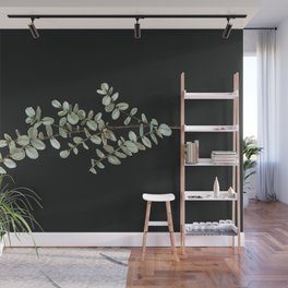 Baby Blue Eucalyptus Watercolor Painting on Charcoal Wall Mural